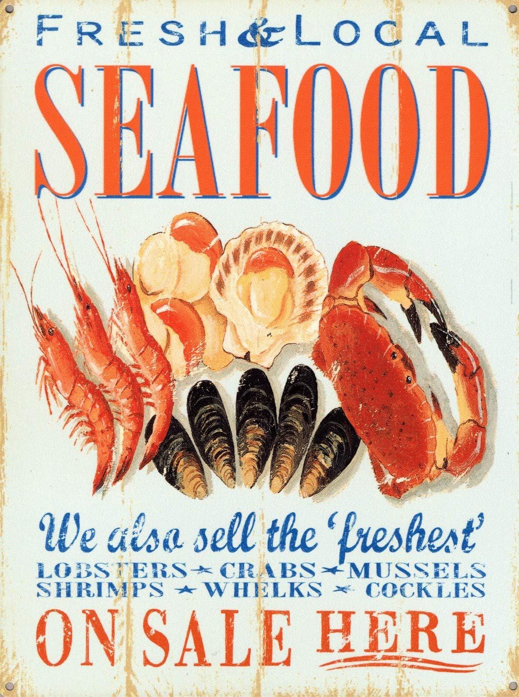 HomDeo Metal Vintage Signs Fresh & Local Seafood, Retro Food Advertisement Tin Sign Farm Basement Wine Cellar Pub 12
