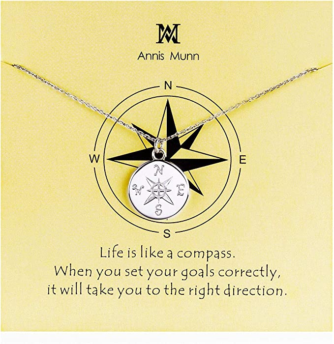 Compass Pendant Necklace – Sliver , Meaningful Gift Idea