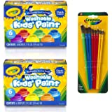 Crayola 2 Pack Washable Kid's Paint (6 count each) with 8 ct. Art & Craft Brush Set