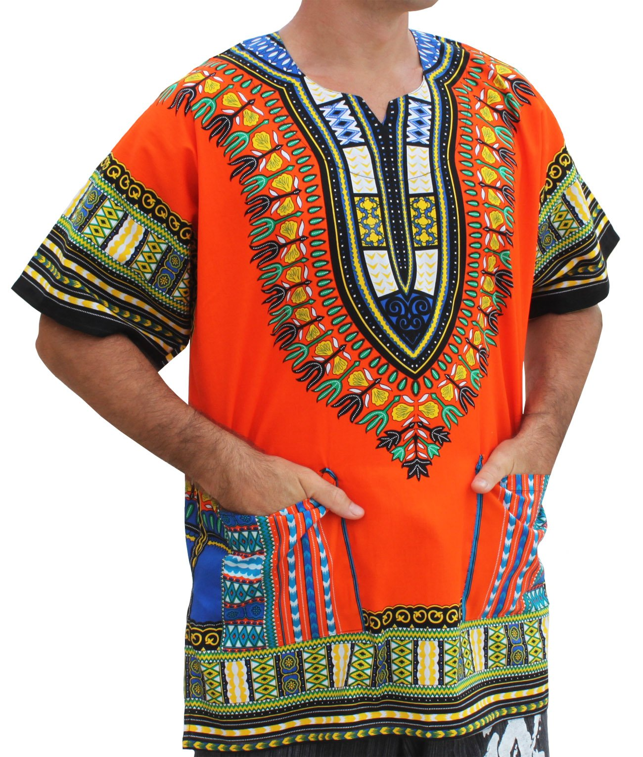 Raan Pah Muang RaanPahMuang Unisex Bright coloured African Dashiki Cotton Plus Shirt, XXXXXXX-Large, Orange