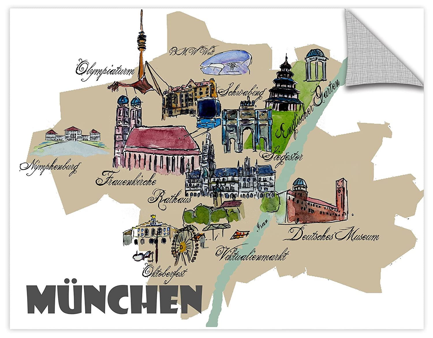 18X24 Marcus//Martina Bleichner Munich Map Overview Best Of Highlights Removable Wall Art Mural