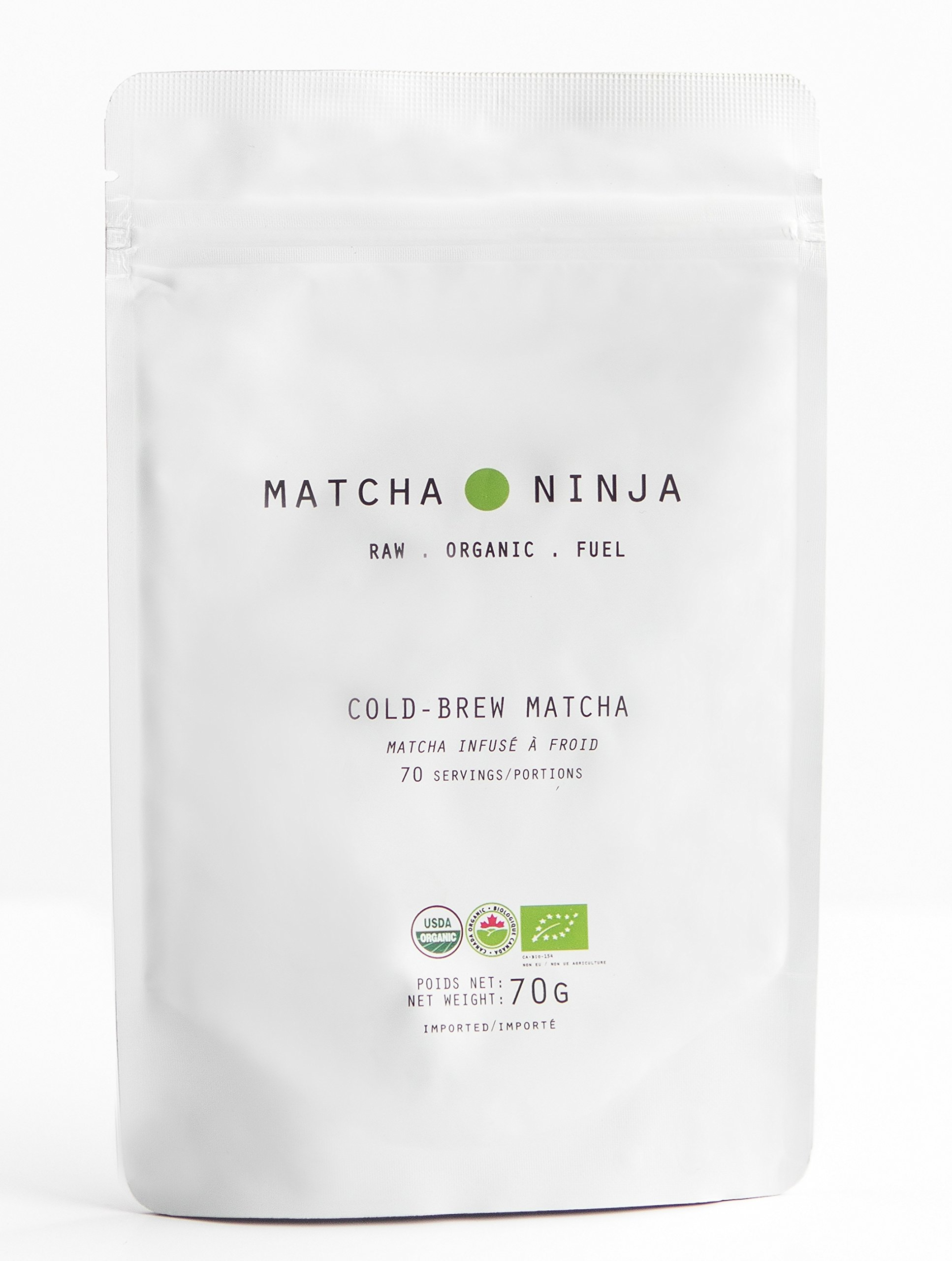 Matcha Ninja 100% Raw Organic Matcha Green Tea. Cold Water Soluble. Ceremonial Grade. Non-Bitter Extra Smooth Blend