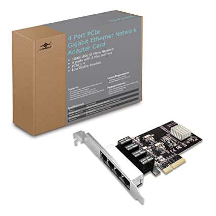 Amazon.com: Vantec 4-Port PCIe Gigabit Ethernet Network Card with ...