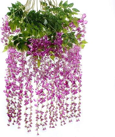 luyue Faux artificielles Glycine Ratta vigne de fleurs en soie de mariage Parti Home Decor 4,59 m,Pi/èce de 6