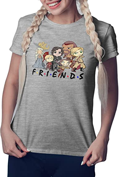 Friends Game of Thrones Gris Camiseta Mujer Size XL ...