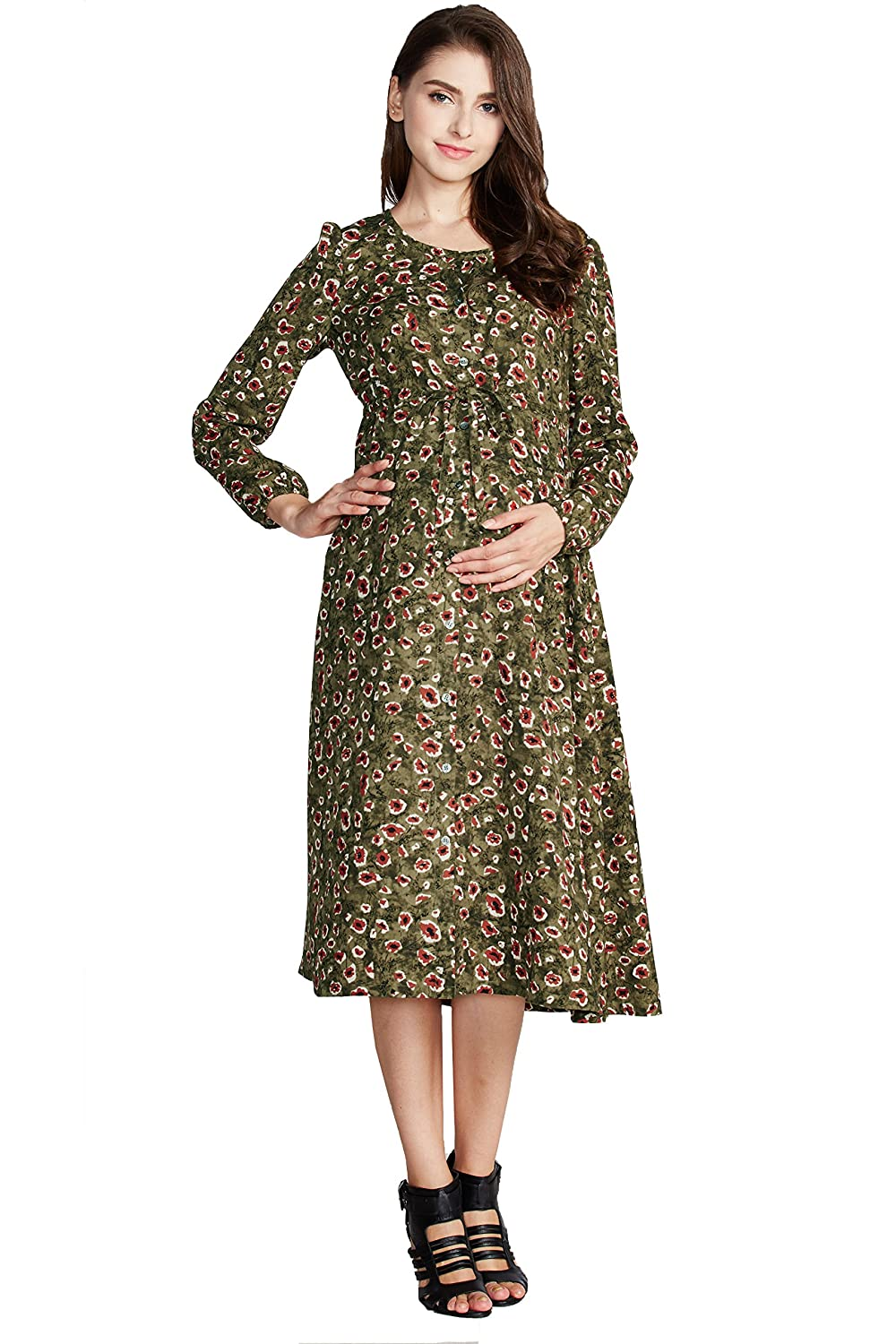 965248bd93a9b Sweet Mommy Maternity and Nursing Vintage Maxi Dress Floral Print Khaki, L  at Amazon Women's Clothing store: