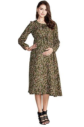 050f92cf99960 Sweet Mommy Maternity and Nursing Vintage Maxi Dress Floral Print Khaki, L