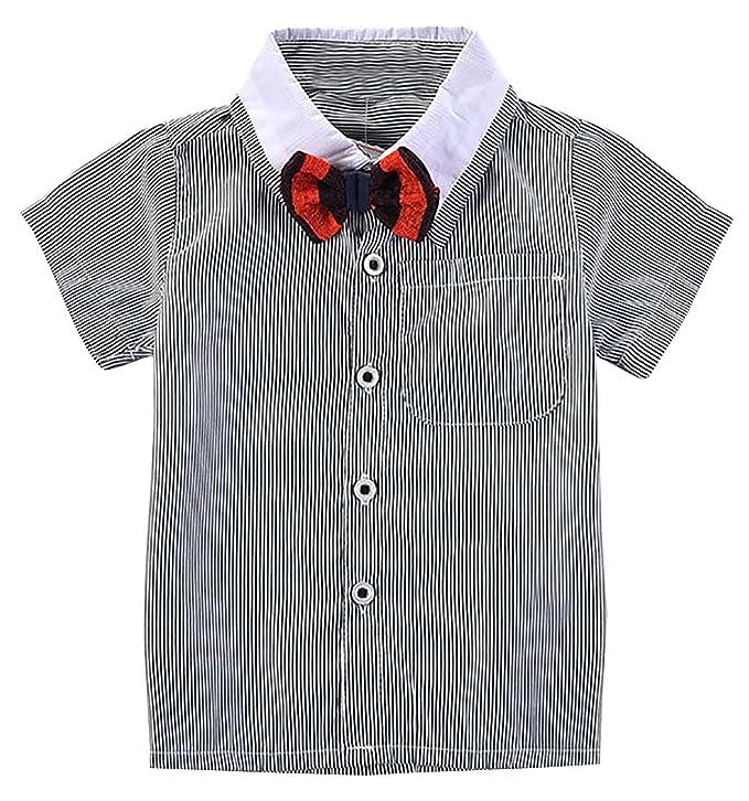fe0c9482e7fcd LUOTING 3 pcs Vêtements Suite Bébés Garçons Costume Bavette T-Shirt Noeud  Papillon Bleu Rayure Bretelles Boutons Short Kaki Salopette Coton Gentleman  ...