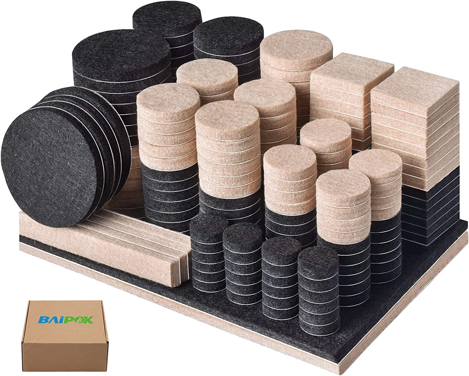 Furniture Pads 300 Pcs Furniture Felt Pads Two Colors (Black 130 + Beige 110), Various Sizes Self Adhesive Felt Pads, Anti Scratch Floor Protector for Furniture Legs Hard Floor with 60 Cabinet Bumpers