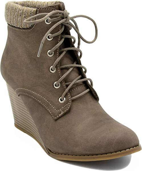 2f61c264fb0 Nautica Womens Korce Boot Lace-Up Wedge Ankle Bootie with Sweater  Collar-Taupe-