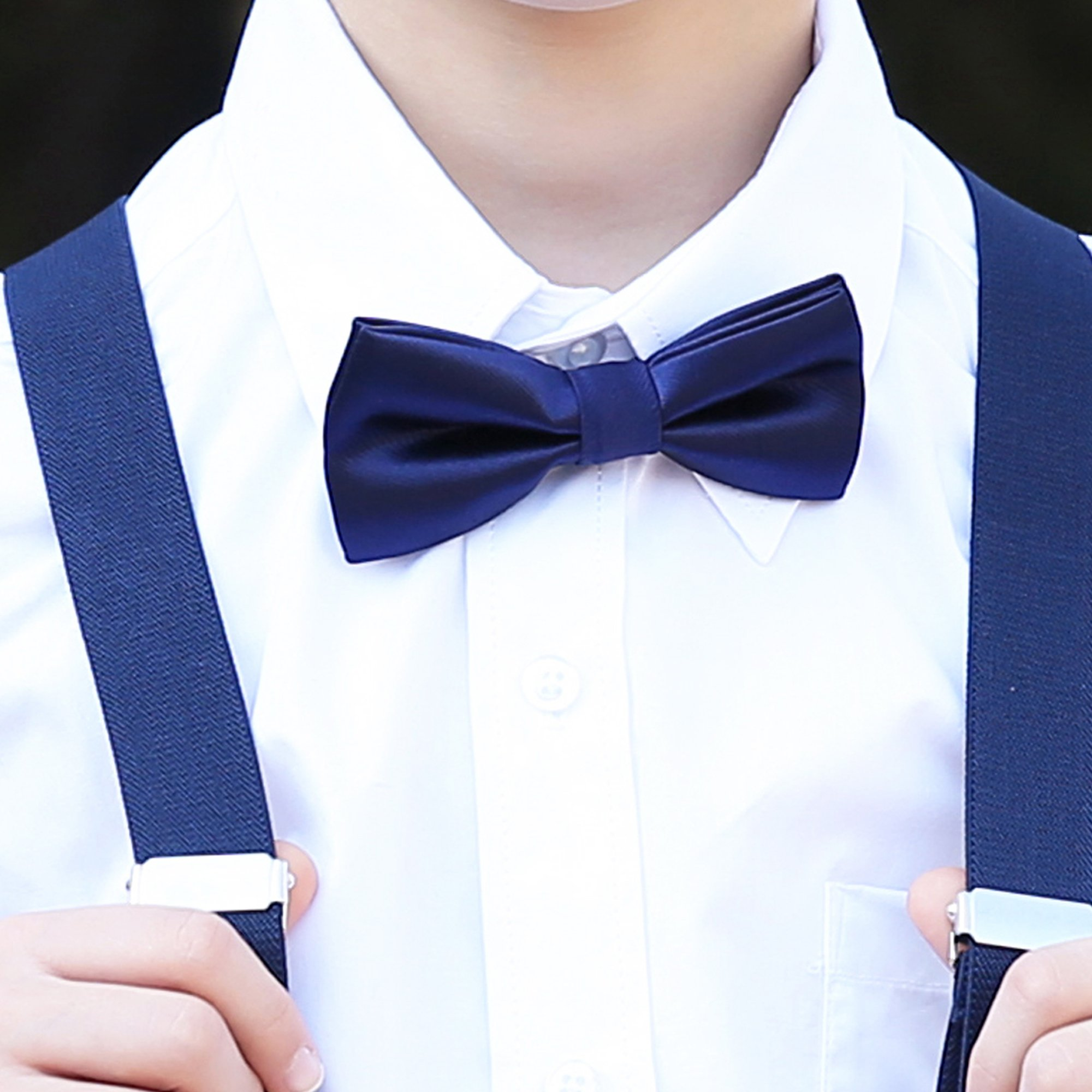 Boys Children Formal Bow Ties - 6 Pack of Solid Color Adjustable Pre Tied Bowties(Silver) by Kajeer (Image #5)