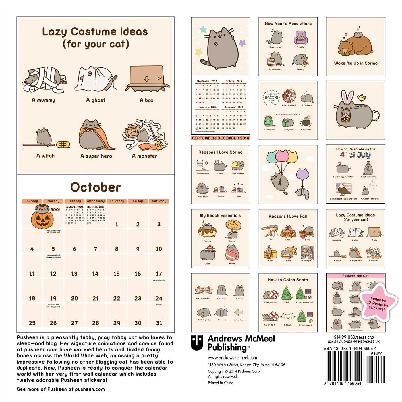 Pusheen The Cat 2015 Wall Calendar: Claire Belton: 0050837332980:  Amazon.com: Books