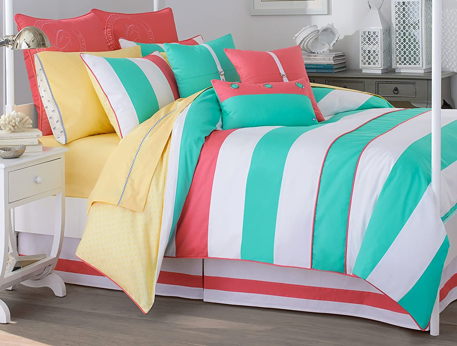 amazoncom southern tide cabana stripe queen comforter set home  - amazoncom southern tide cabana stripe queen comforter set home  kitchen
