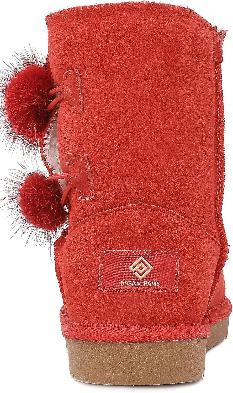DREAM PAIRS Boys /& Girls Toddler//Little Kid//Big Kid Shorty-k Winter Snow Sheepskin Fur Boots