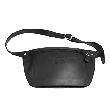 a4d0b5bdee2 Amazon.com | Leather Belt Bag - Genuine Waist Bag - Fanny Pack - for Man  Woman by GE MARK (black) | Waist Packs