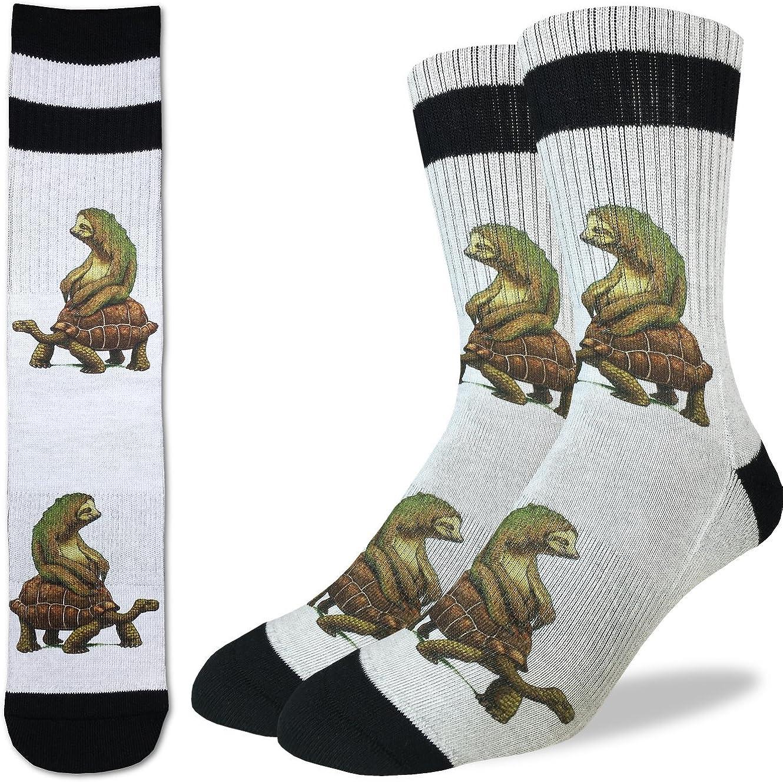 Blue Shoe Size 7-12 Good Luck Sock Mens Parachuting Sloths Crew Socks