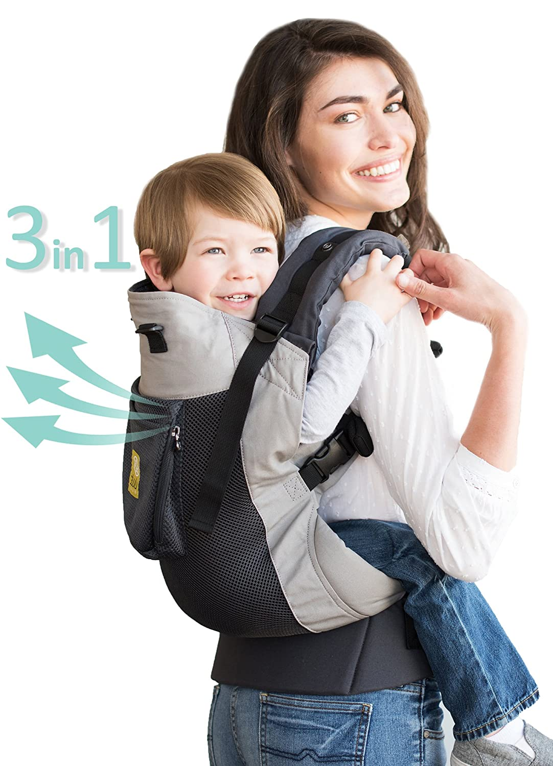LÍ LLÉ baby 3 in 1 CarryOn Toddler Carrier - Airflow, Charcoal Silver LILLEbaby CO-4A-404-N