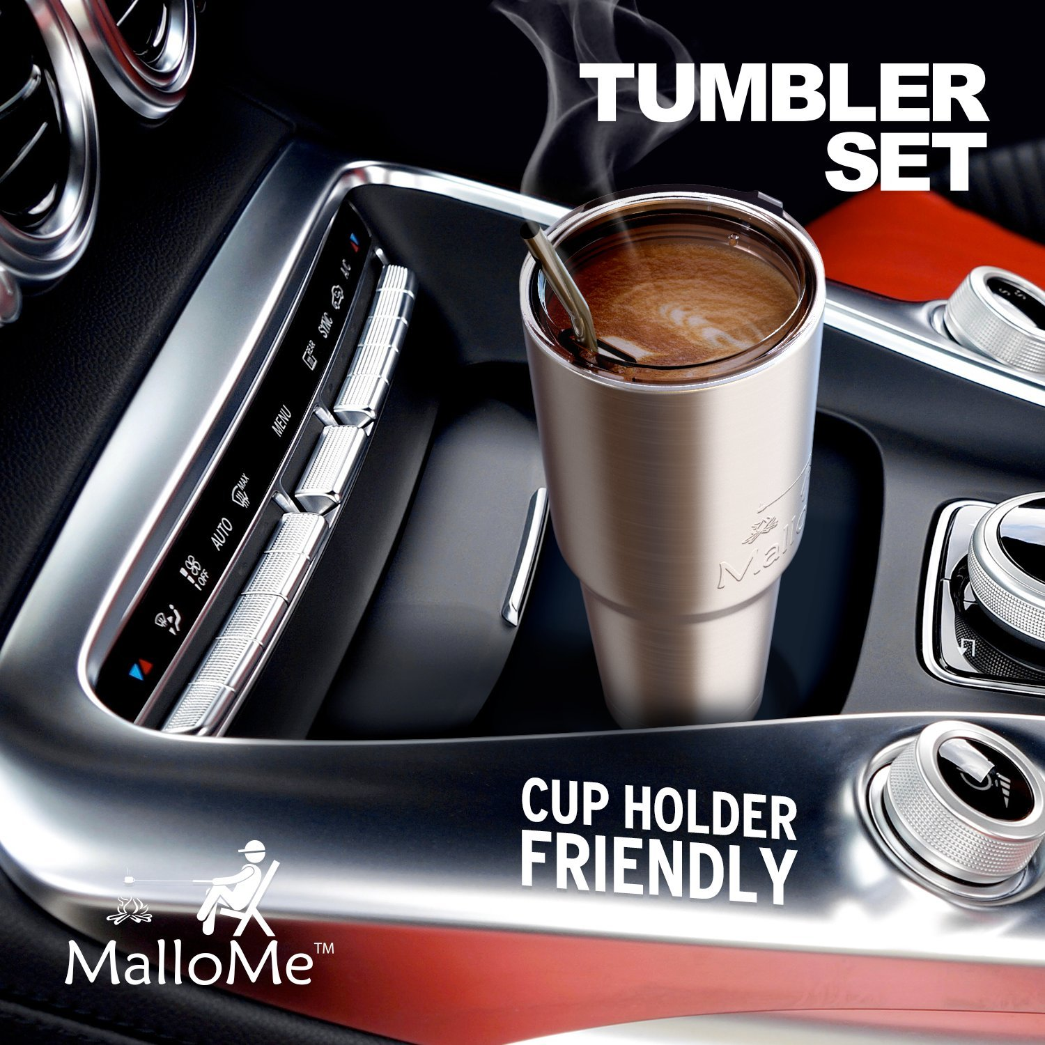 MalloMe Tumbler 30 oz. Double Wall Stainless Steel Vacuum Insulated - Travel Mug [Crystal Clear Lid] Water Coffee Cup [Straw Included] For Home,Office,School - Works Great for Ice Drink, Hot Beverage by MalloMe (Image #5)