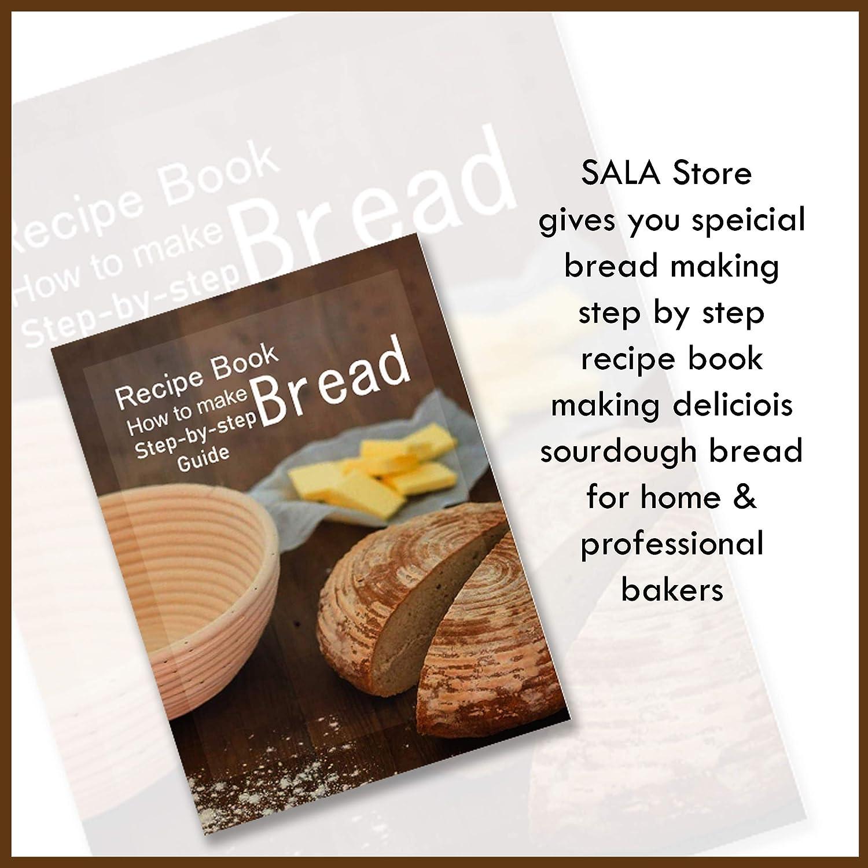 "Brotform /& Linen Liner /& Bread Bag/&Metal Blade /&Scraper for Home Bakers 9/""Round Bread Banneton Proofing Basket for Sourdough Professional Baking Tool 8 Pack Set"