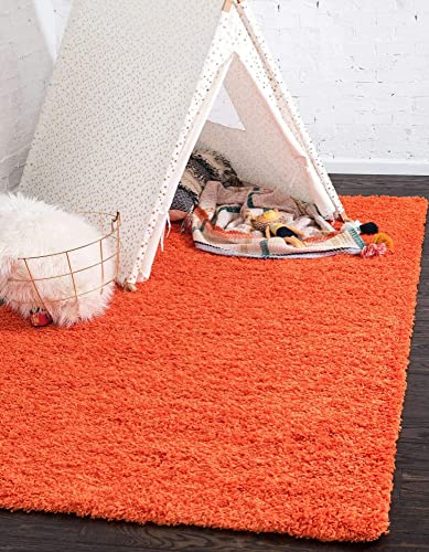Unique Loom Solo Solid Shag Collection Modern Plush Tiger Orange Area Rug 8' 0 x 10' 0
