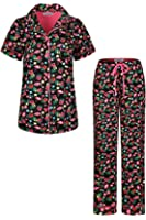 SofiePJ Women's Printed Short Sleeve Pure Cotton Button-Down PJ and Long Pants Set