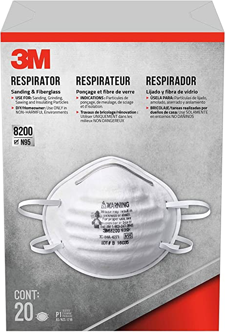 3m disposable respirators sanding and fiberglass 20 masks n95