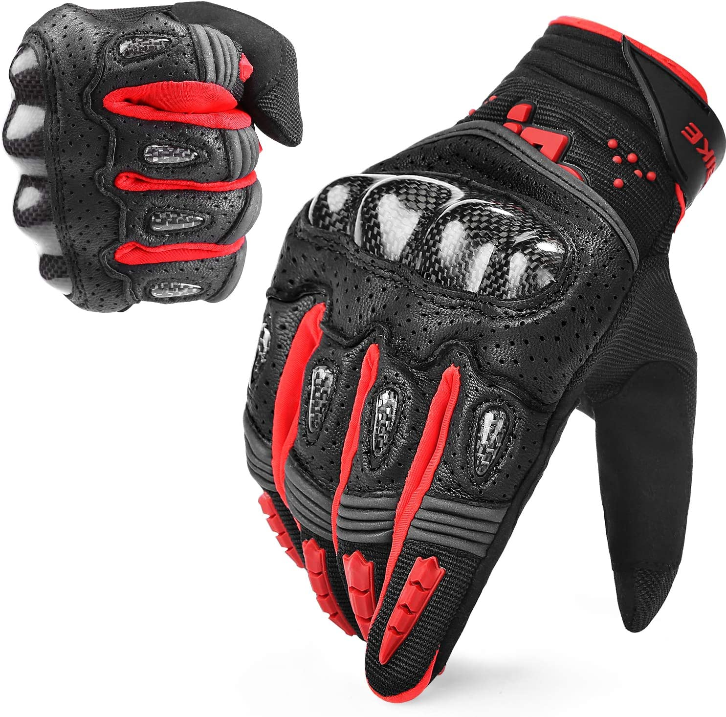 INBIKE Leather Motorcycle Riding Gloves Touchscreen with Carbon Fiber Hard Knuckle for Men Black X-Large