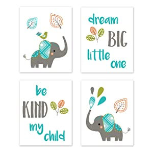 Sweet Jojo Designs Turquoise Blue, Green, and Gray Wall Art Prints Room Decor for Baby, Nursery, and Kids for Mod Elephant Collection - Set of 4 - Dream Big Be Kind