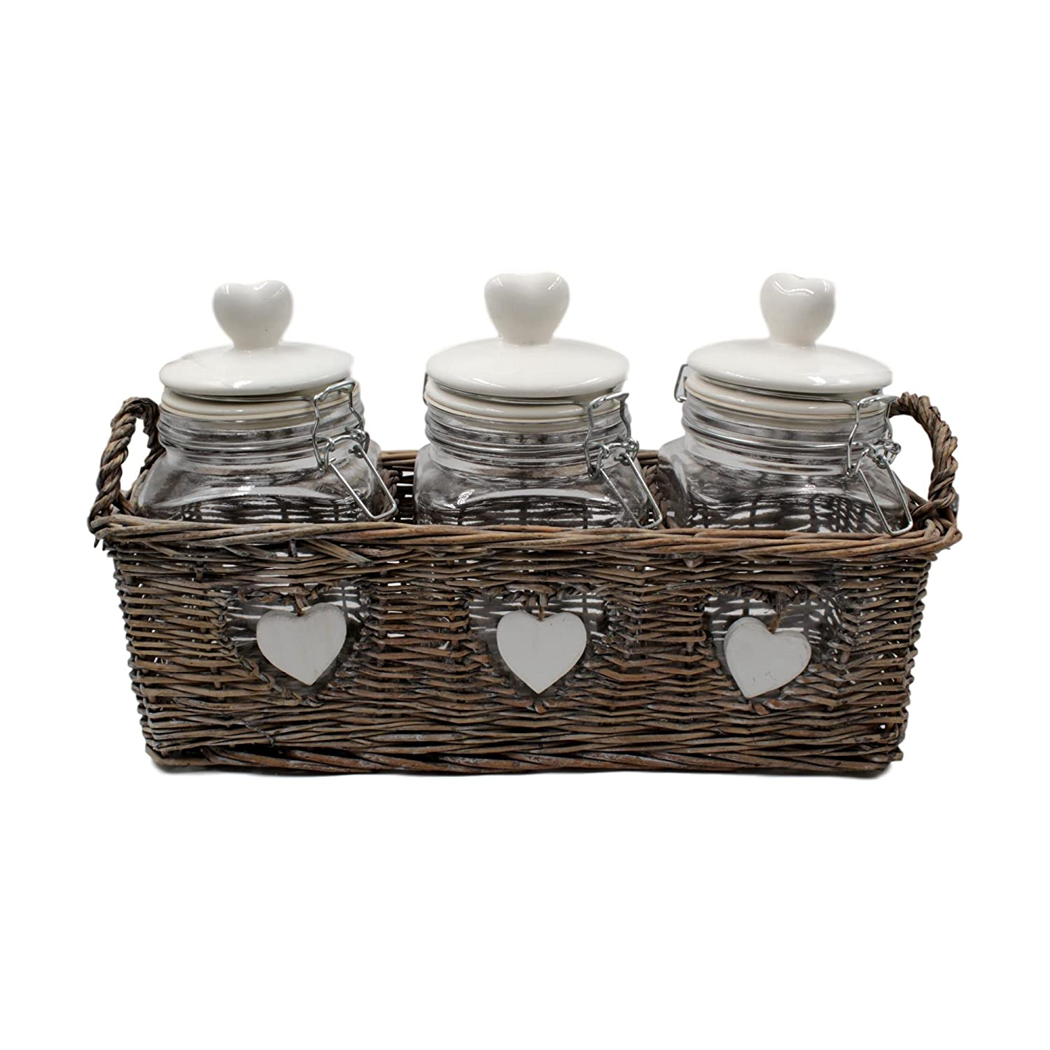 Cottage Style Glass Coffee Sugar Tea Caddy Set – 21.5cm H Jars West5Products