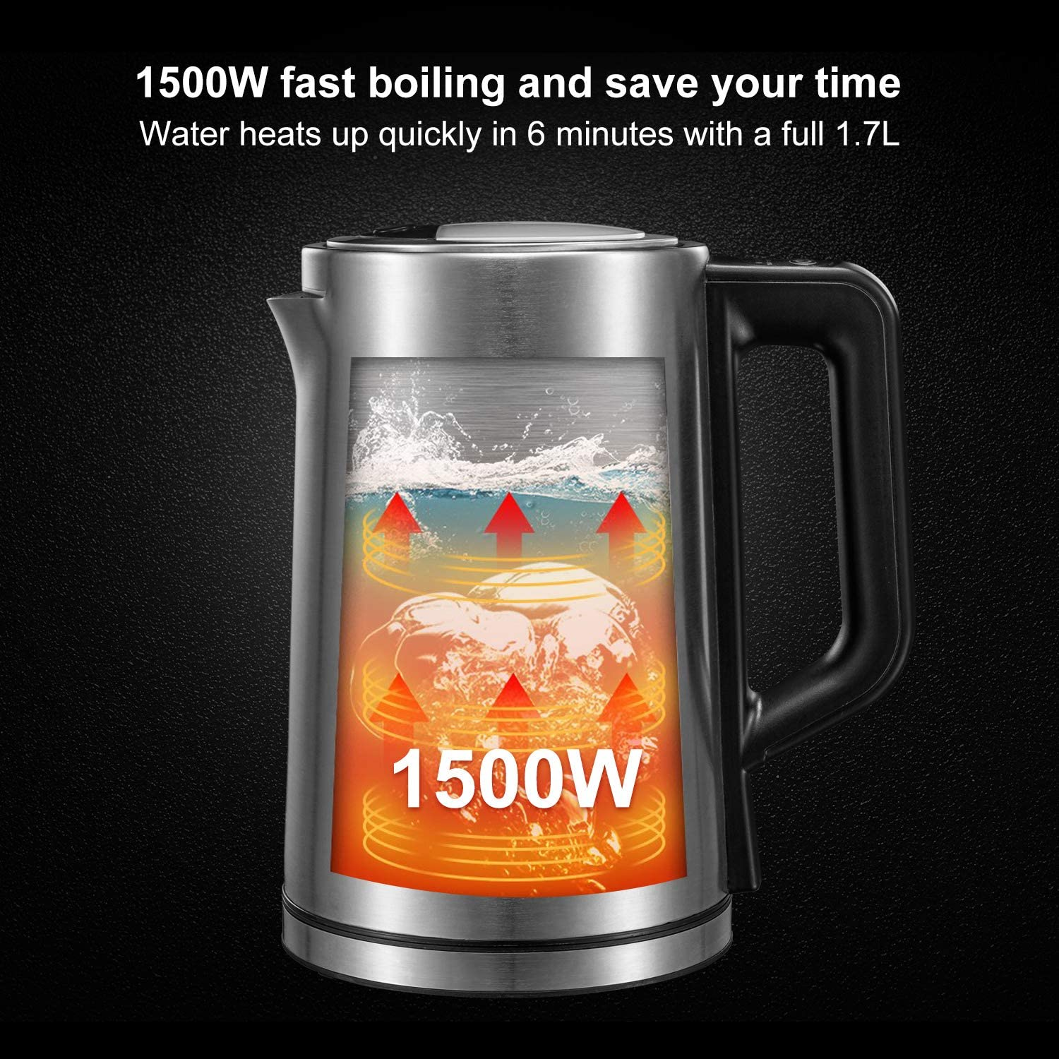 Electric Stainless Steel Tea Kettle 1.7L Bonsenkitchen Electric Kettle Temperature Control Water Boiler Automatic Shut Off Tea or Milk with Led Light 1500W Fast Heating Cordless Water Heater for Coffee