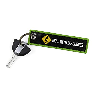 KEYTAILS Keychains, Premium Quality Key Tag for Motorcycle, Car, Scooter, ATV, UTV [Real Men Like Curves]: Automotive