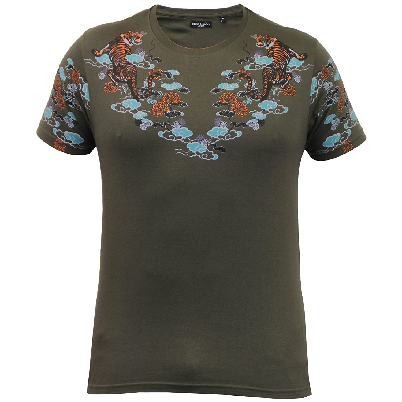 Herren T-shirt Brave Soul Blumenmuster Art Tiger Aufdruck Kurzarm  Rundhalsausschnitt Sommer: Amazon.de: Bekleidung
