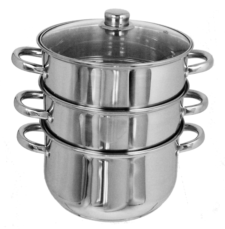 Buckingham 24 cm 6 Litre Large Premium Stainless Steel Induction Three Tier Steamer Base Pot, Silver B & I International 19063
