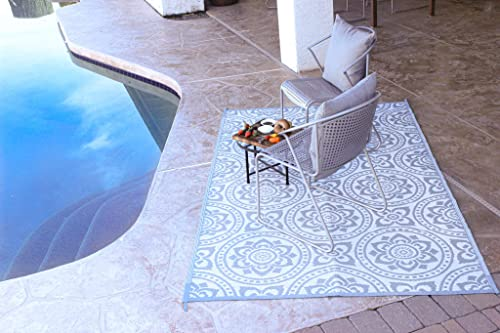 Reversible Mats Outdoor Patio Mat Virgin Polypropylene – Easy to Clean Perfect for Picnics, Cookouts, Camping, The Beach, and Patio Boho Design 8-Feet x 10-Feet, Grey White