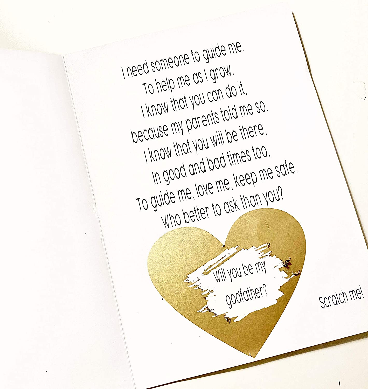 Godparent Proposal Scratch Off Cards, A7 Two cards included - one for Godmother, one for Godfather Folded 5x7 inches