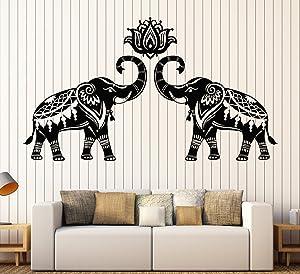 Vinyl Wall Decal Stickers Indian Elephants Animals Hinduism Hindu Lotus Stickers Large Decor (698ig) Gold Metallic