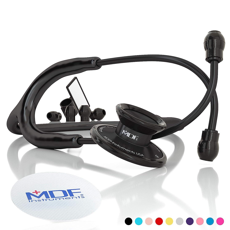MDF Instruments Acoustica Deluxe MDF747XPBO, Estetoscopio ligero de doble cabeza, Todo Negro (All Black)