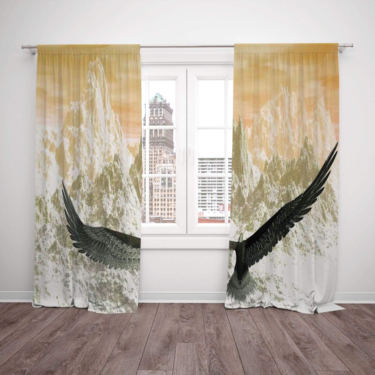 Thermal Insulated Blackout Window Curtain,Birds,Eagle Flying Towards the Mountains in the Sunset Clouds Wild Nature Landscape Print,Orange Olive,Living Room Bedroom Kitchen Cafe Window Drapes 2 Panel