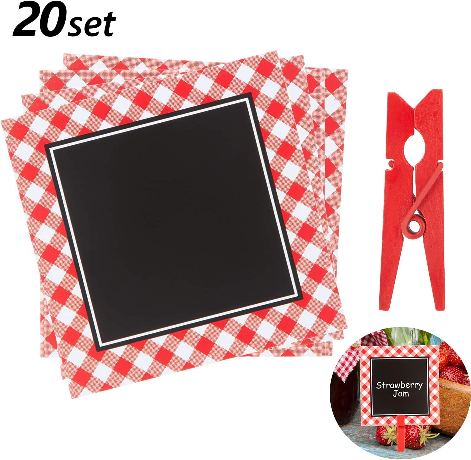 Picnic Party Chalkboard Cards BBQ Theme Mini Blackboard Red Gingham Chalkboard with Wooden Clips for Baby Shower Wedding Picnic Birthday Party Decoration, 3 Inch (20 Pieces)