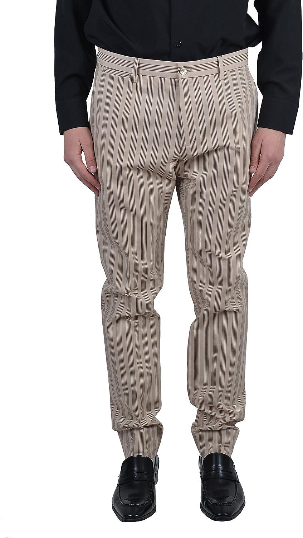 Dolce /& Gabbana G43SEX Linen Mens Striped Beige Casual Pants Size US 32 IT 48