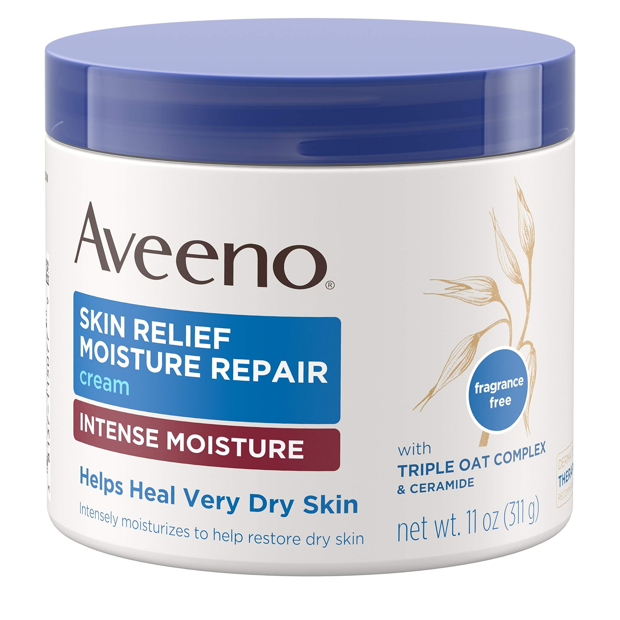 Aveeno Skin Relief Intense Moisture Repair Cream with Triple Oat Complex, Ceramide & Rich Emollients, Steroid- & Fragrance-Free Moisturizing Body Cream for Extra-Dry Skin, 11 oz by Aveeno