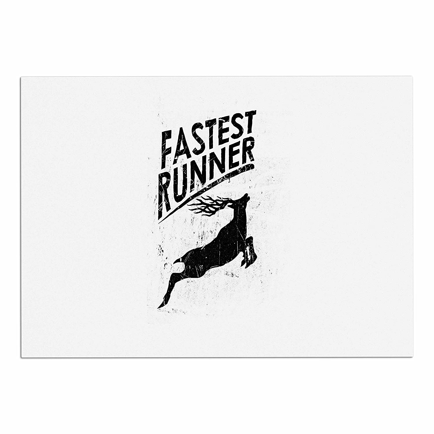 KESS InHouse RT1112ADM02 BarmalisiRTB Fastest Runner Black White Dog Place Mat, 24  x 15