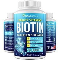 Biotin Keratin & Collagen Capsules - Made in USA - Natural Marine Collagen, Keratin...