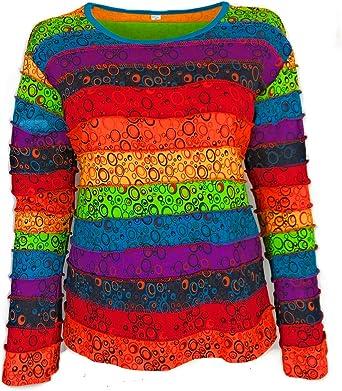Camisa de Manga Larga, arcoíris Negro Hippie, Sudadera con Capucha de Parches Multicolor, Mangas a Rayas de arcoíris, Camisetas Hippies, Boho: Amazon.es: Ropa y accesorios