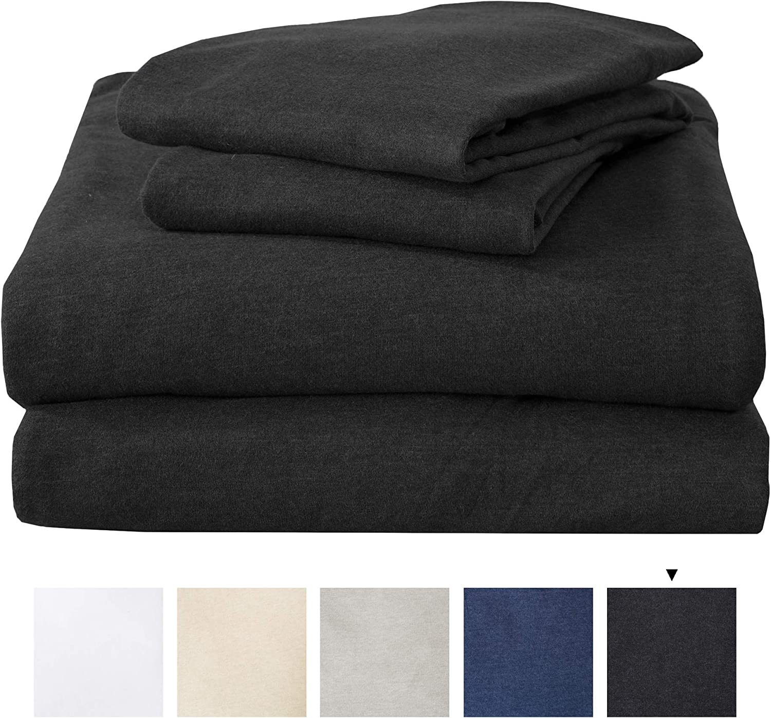 Great Bay Home Queen Jersey Knit Sheets. All Season, Soft, Cozy Flannel Jersey T-Shirt Sheet Set. Cotton Blend Jersey Sheets. Cozy Flex Collection (Queen, Charcoal)