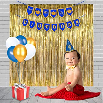 Party Propz Half Birthday Decoration Combo Including 1 Banner 25 Pieces Balloon Pic Cap And 3 Golden Foil Curtain Amazonin Toys Games