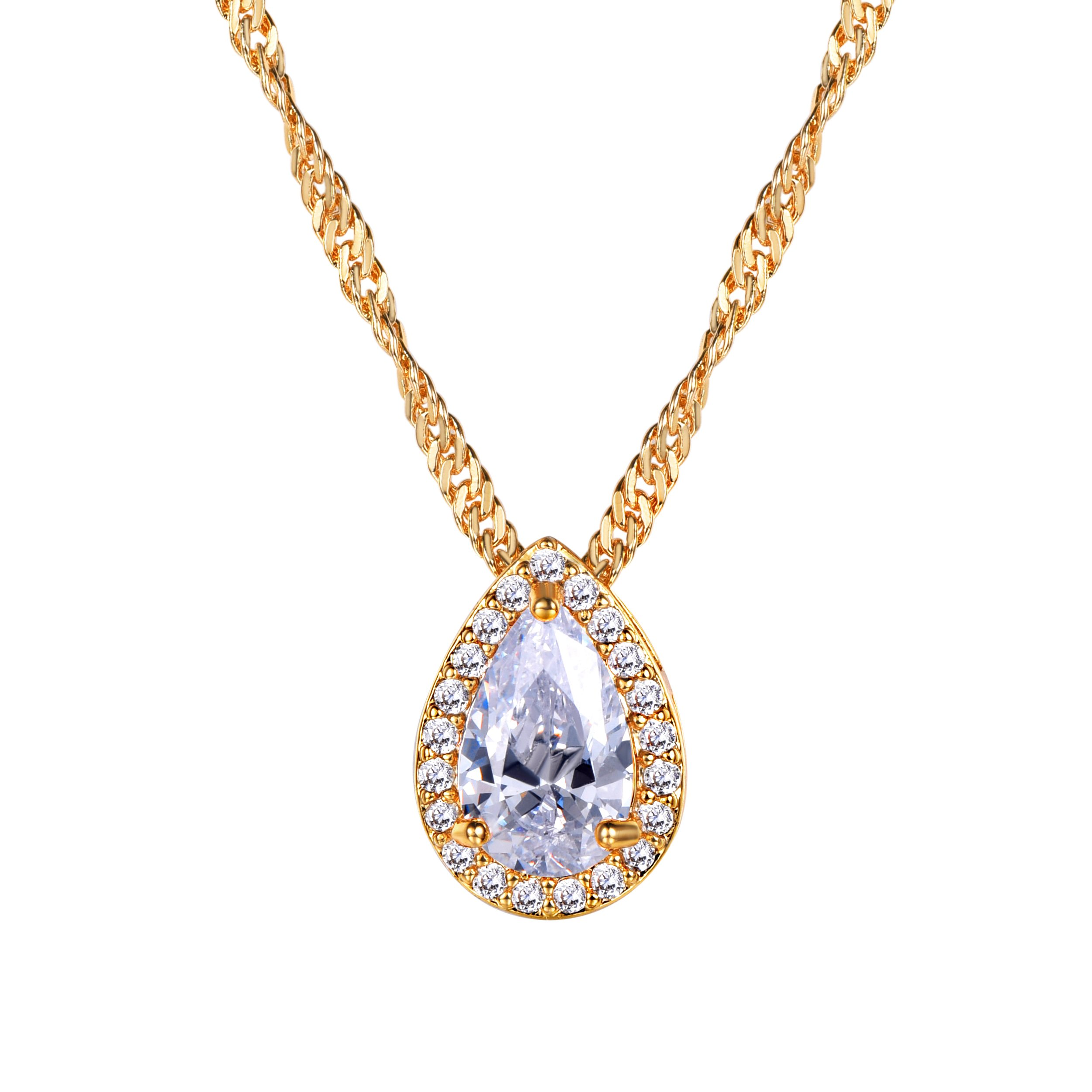 Pearl-shaped Briolette Cubic Zirconia Teardrop Pendant Necklace with Water Wave Chain, Gold Plated Crystal Bridal/Wedding Necklace