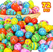 YEAHBEER 72 Pcs Bright Plastic Easter Eggs-Assorted Prints and Colors, Easter Hunt,Easter Theme Party Favor, Basket Stuffers