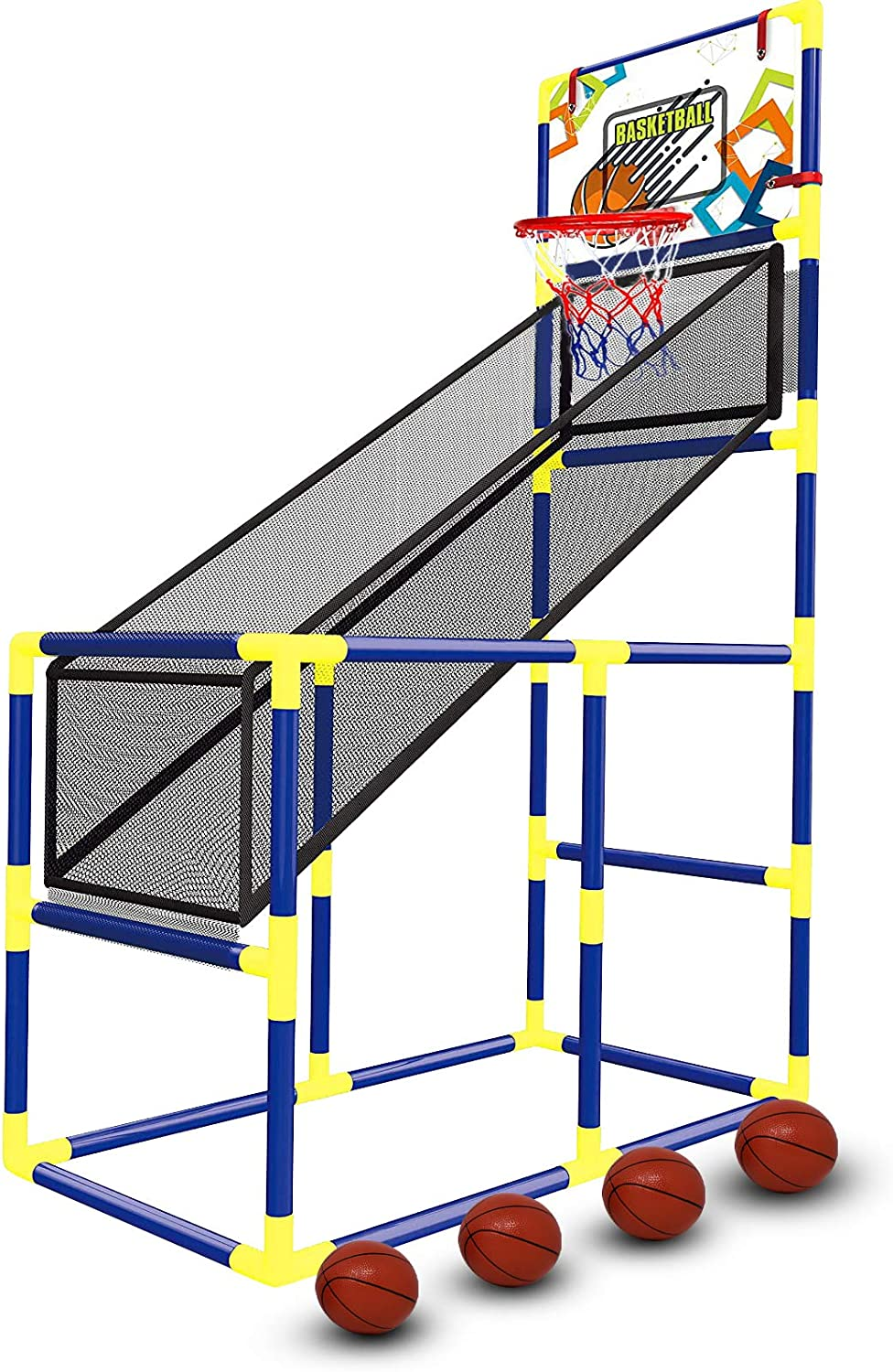 Tundras Sports Basketball Hoop - Indoor, Kids Basketball Hoop Arcade Game - Arcade Game for Kids, with 4 Balls - Basketball Shooting System, for Boys and Girls Ages 1-14