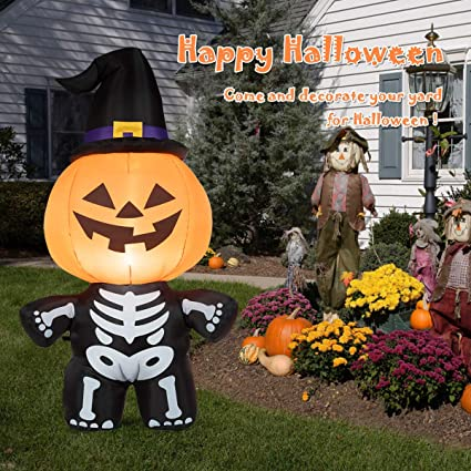 Tangkula 5 Ft Halloween Inflatable Blow Up Ghost On Pumpkin Inflatable Halloween Decorations Outdoor Indoor Holiday Decorations Blow Up Lighted